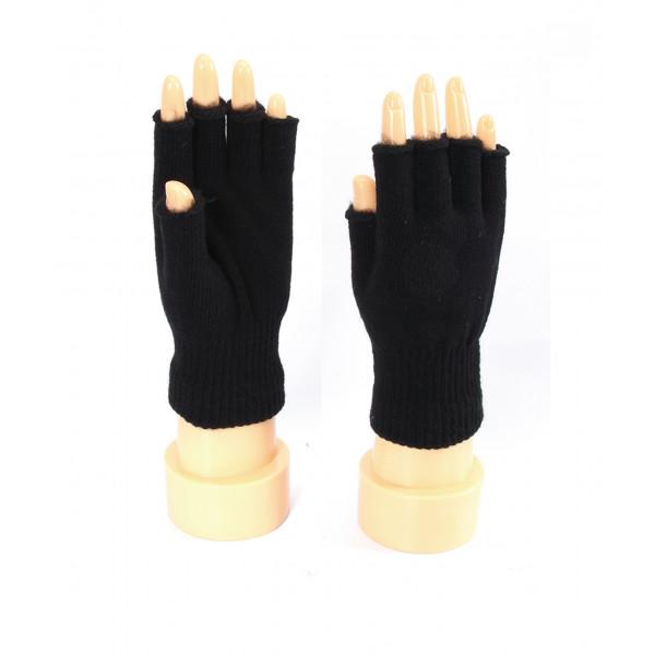 Fingerless Black Winter Gloves